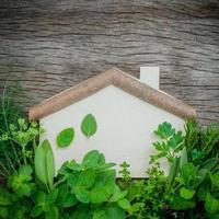 houten huis en kruiden foto
