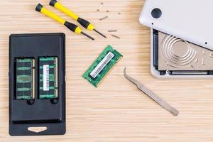 bovenaanzicht van een RAM-upgrade foto
