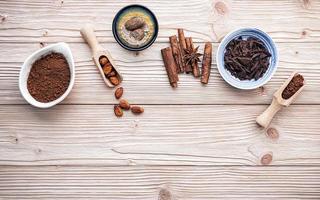 cacaopoeder en cacaobonen met kruiden foto