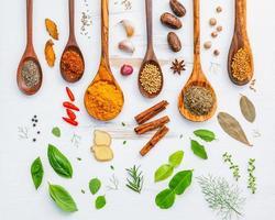 specerijen en kruiden met houten lepels foto