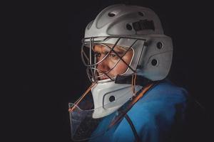 hockey keeper in het masker foto
