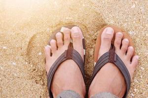 op vakantie op het strand wonen foto