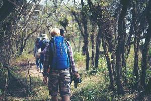 close-up van vrienden lopen met rugzakken in bos vanaf achterkant