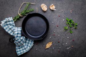 koekenpan en verse kruiden