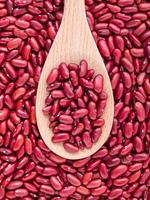 rode bruine bonen op een lepel foto