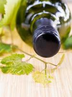 fles wijn en klimop foto