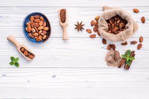 bovenaanzicht van cacaopoeder en cacaobonen foto
