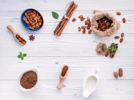 frame van chocolade-ingrediënten foto