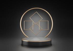 3D-weergave van zwart voetstuk podium met een gouden ring op zwarte achtergrond foto