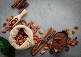 cacaopoeder en cacaobonen op beton foto
