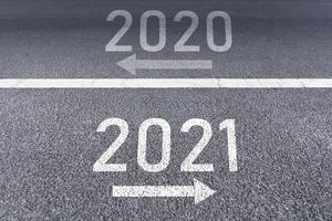 het nummer 2020 en 2021 op de weg geschreven foto