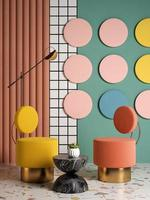 memphis stijl conceptuele interieur kamer in 3d illustratie foto