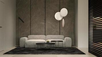 minimalistisch interieur van een moderne woonkamer in 3d illustratie