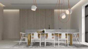 minimalistisch interieur van een moderne woonkamer in 3D-rendering foto