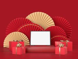 papier ventilator 3d medaillon voor Chinees Nieuwjaar met podium foto