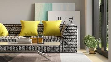 interieur van een moderne woonkamer met sofa in 3D-rendering foto