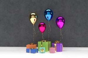 3d geschenkdozen met ballonnen op achtergrond foto