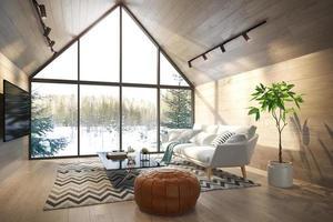 een interieur woonkamer van een boshuis in 3d illustratie