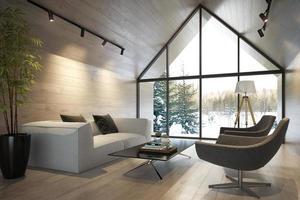 een interieur woonkamer van een boshuis in 3d illustratie foto