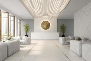 interieur van een hotel en spa-ontvangst in 3d illustratie
