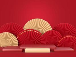abstract papier fan medaillon met podium op achtergrond foto
