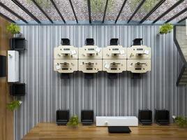 bovenaanzicht van een interieur modern open space kantoor in 3d illustratie foto
