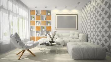 interieur modern ontwerp van een kamer in 3d illustratie