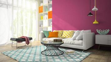interieur van een moderne design kamer met paarse muren in 3D-rendering