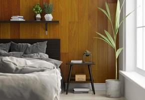 interieur van een slaapkamer in Scandinavische stijl in 3D-rendering foto