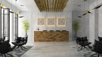 interieur van een hotel en spa-ontvangst in 3d illustratie foto