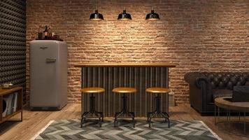 interieur van een moderne woonkamer met een bar in 3D-rendering