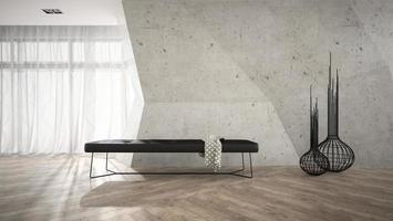 stijlvol interieur met een zwarte bank in 3D-rendering