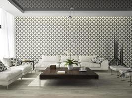 interieur van een woonkamer met stijlvol behang in 3D-rendering