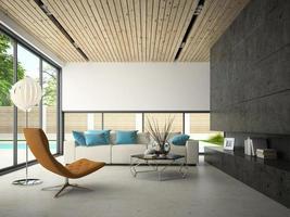 interieur huis met een zwembad in 3D-rendering foto