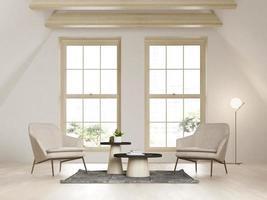 beige kleur zolder interieur kamer in 3d illustratie foto