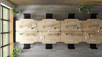 bovenaanzicht van een interieur van een moderne kantoorruimte in 3D-rendering foto