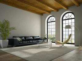 interieur van een modern design loft met een zwarte bank in 3D-rendering foto