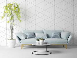 interieur van een moderne woonkamer met een bank en meubels in 3D-rendering