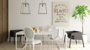 interieur van een moderne eetkamer in 3D-rendering foto