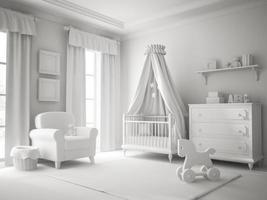 klassieke kinderkamer witte kleur 3D-rendering foto