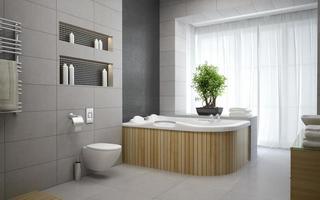 interieur van een moderne designbadkamer in 3D-rendering foto
