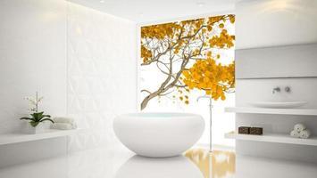 interieur van een witte stijlvolle badkamer in 3D-rendering foto