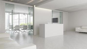 interieur van een receptie en vergaderzaal in 3d illustratie foto