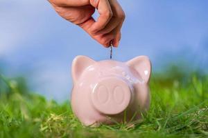 roze spaarvarken op gras met hand die een muntstuk aanbrengt foto
