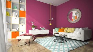 interieur van een moderne design woonkamer met een ronde spiegel in 3D-rendering
