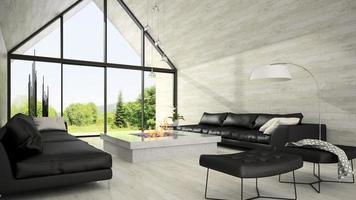 interieur van een modern design woonkamer in 3D-rendering