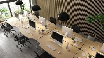 interieur van een moderne kantoorruimte in 3D-rendering foto