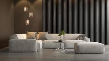 interieur van een moderne woonkamer in 3D-rendering foto