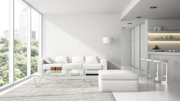 interieur van een modern design loft in wit in 3D-rendering foto