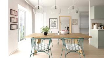 interieur van een moderne woonkamer met een bank en meubels in 3D-rendering foto